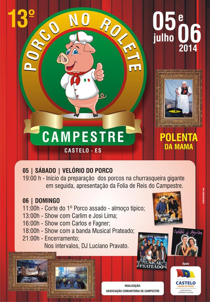 Cartaz - Porco no Rolete Campestre 2014 - curvas